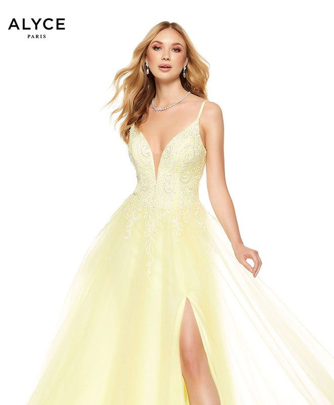 alyce paris long yellow prom dress at k-town couture in kearney nebraska